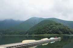 Lake and mountain view in Yamanashi. Lake and mountain view  in Yamanashi Prefecture, Japan Royalty Free Stock Images