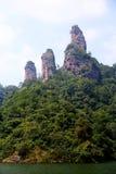 The lake and mountain views in Dajin lake park,Taining,Fujian,China Royalty Free Stock Photos