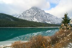 Lake & Mountains. Reflective lake and mountains in Rocky Mountains Stock Image