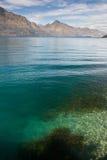 Lake and mountains. Lake Wakatipu and Remarkebles Range above it. South Island, New Zealand royalty free stock image