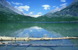 Lake and mountains. A beautiful view of mountains and a valley between them, taken from a calm lake with a log floating in it. Taken in Canada Royalty Free Stock Photos