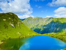 Lake in the mountains. Landscape with a large lake in the Caucasus Mountains Royalty Free Stock Images