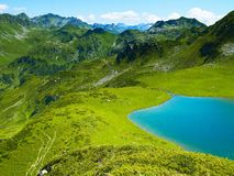 Lake in the mountains. Landscape with a large lake in the Caucasus Mountains Stock Photo