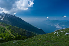 Lake in mountains. Lake Garda as seen from Mountain Baldo in North Italy Royalty Free Stock Images
