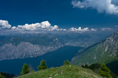 Lake in mountains. Lake Garda as seen from Mountain Baldo in North Italy Royalty Free Stock Photos