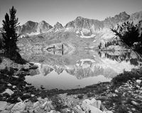 Lake and Mountains. High alpine lake, black and white, landscape royalty free stock photo
