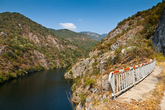 Lake in the mountains. Krichim views of the lake from the road that passes nearby Royalty Free Stock Photo