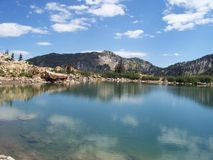 Lake and Mountains. Bluegreen water and Spring snow covered mountains Stock Images