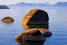Lake in the mountains. Beautiful Lake Tahoe at sunset Stock Photography