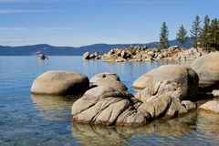 Lake in the mountains. Lake Tahoe with clouds over it Stock Photography