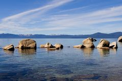 Lake in the mountains. Lake Tahoe with clouds over it Stock Photo