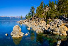 Lake in the mountains. Lake Tahoe with clouds over it Stock Image