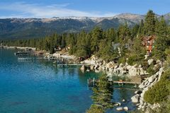 Lake in the mountains. Lake Tahoe with clouds over it Stock Images
