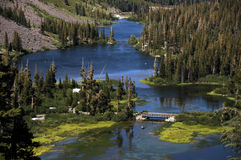 Lake in the mountains. View of lake  in california mountains Royalty Free Stock Images