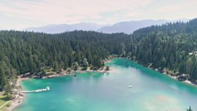 Lake Mountains Alps View Aerial 4k stock video