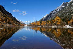 Lake with mountains in autumn Stock Images