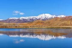 Lake mountains azure sky reflection autumn Stock Photography