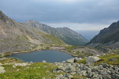 Lake in the mountains of the Barguzin ridge at Lake Baikal Royalty Free Stock Photography