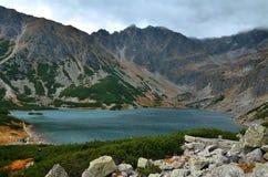 Lake in mountains. Beautiful lake in polish Tatra Mountains surrounded by mountain peaks royalty free stock photo