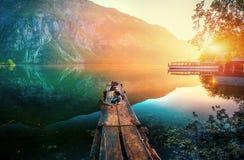 Lake between mountains. Beauty world Italy Europe Stock Image