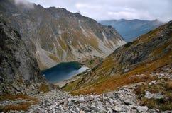 Lake in mountains. Blue lake in Slovakia Tatra Mountains stock image