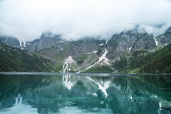 Lake and mountains. Blue lake and mountains under clouds Stock Images