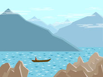 Lake in the mountains. The boat floats on the mountain lake royalty free illustration