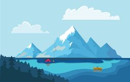 Lake in the mountains. The boat on the water, campfire next to the tourist tent on the shore. Vector illustration. Lake in the mountains. Fishing boat on the vector illustration