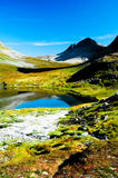 Lake in the mountains with clear skies Stock Photo