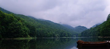 Lake in the mountains. In cloudy weather Stock Photo