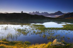 Lake and mountains at dawn, france Royalty Free Stock Photography