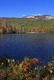 Lake and Mountains in the Fall. Pinnacle Lake at Table Rock State Park in Pickens, South Carolina in the fall royalty free stock photo