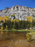 Lake in the mountains with grassy banks. Yellow, green and orange colors of autumn. Lake in the mountains with grassy banks Stock Photography