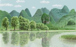 A lake and mountains in Guilin Stock Photo