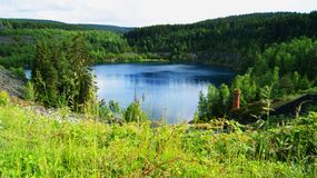 Lake in the mountains. The lake is a component of the hydrosphere, which is a naturally formed reservoir filled with water in the lake basin lake bed and has no stock images