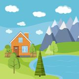 Lake and mountains landscape scene with wooden rural farm house with chimney stock illustration