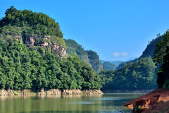 Lake and mountains landscape, Taining, Fujian, China Royalty Free Stock Photo