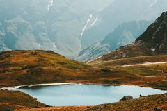 Lake in Mountains Landscape Travel serene scenic. Lake in Mountains Landscape Summer Travel serene scenic aerial view Stock Photography