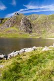 Lake and mountains, Llyn Idwal and the Devil's Kitchen. Royalty Free Stock Images