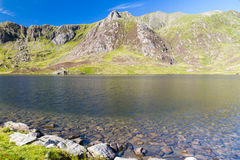 Lake and mountains, Llyn Idwal and the Devil's Kitchen. Royalty Free Stock Photography