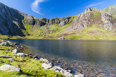 Lake and mountains, Llyn Idwal and the Devil's Kitchen. Royalty Free Stock Photo