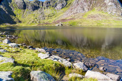 Lake and mountains, Llyn Idwal and the Devil's Kitchen. Royalty Free Stock Image