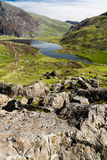 Lake and mountains, Llyn Idwal Stock Photography