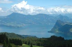 Lake and mountains nearby Luzern in Switzerland Stock Photo