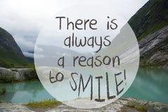 Lake With Mountains, Norway, Quote Always Reason To Smile Stock Image