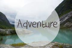 Lake With Mountains, Norway, Text Adventure Royalty Free Stock Photos