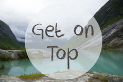 Lake With Mountains, Norway, Text Get On Top Royalty Free Stock Image