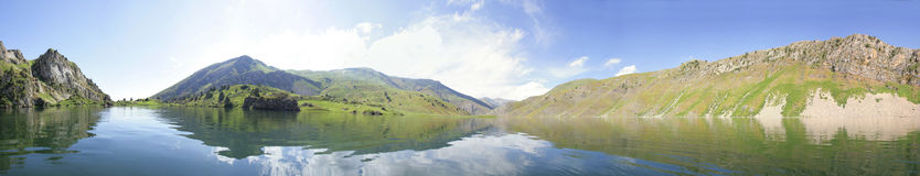 The lake in mountains, panorama 180 Stock Image