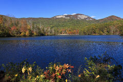 Lake and Mountains. Pinnacle Lake at Table Rock State Park in Pickens, South Carolina in the fall stock photos