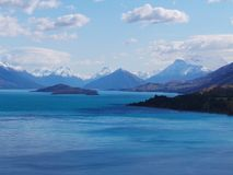 Blue Lake and Mountains, Queenstown, New Zealand Stock Photo